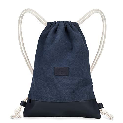 Dreyer Hipster dunkel Blau Turnbeutel – Canvas Baumwoll Beutel mit 3 großen Innentaschen – Sportbeutel/Gymbag für Damen & Herren aus robuster Baumwolle und veganem Leder (dunkle Blau)