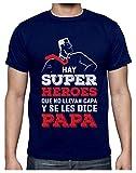 Green Turtle Camiseta para Hombre - Regalos para Hombre, Regalos para Padres Originales, Regalo Padre Divertido - Mi Papá es mi Súper Héroe - Large Azul Oscuro