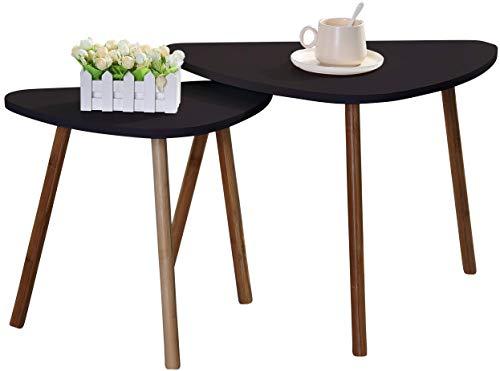 Etnicart - Set di 2 tavolini da caffe scuri in legno scandivavi 60x40xH45cm e 46x30xH41cm minimalisti appoggio piante vasi comodino legno MDF-Prodotto di QUALITA'