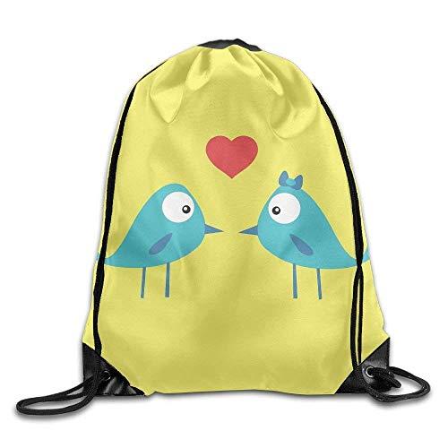 Drempad Tunnelzug Rucksäcke, Artistic Love Birds Drawstring Bag for Traveling Or Shopping Casual Daypacks School Bags