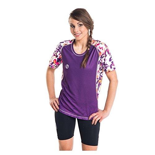 Nessi T-Shirt pour Femme DK Fitness T-Shirt de Course à Manches Longues Respirant Violet Flowers L - 23 Violet Flowers