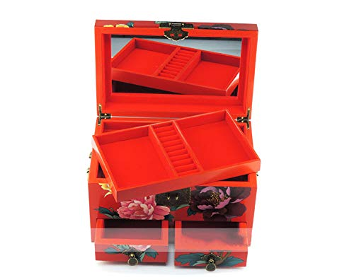LWW Chinesische Schmuckschatulle,Schmuck Box Pingyao Lacquerware Schmuck Box Push Lack Retro Kosmetikbox DREI Holzboden mit Schublade Pfingstrose,Chinesische Hochzeit Aufbewahrungsbox