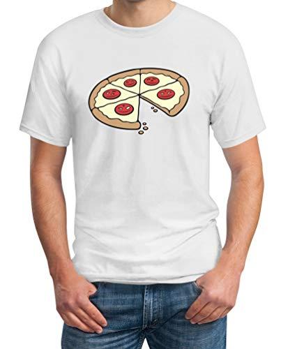 ShirtgeilPapa Pizza Stück - Partnerlook Geschenkidee Eltern Kind - Herren T-Shirt , Weiß, L