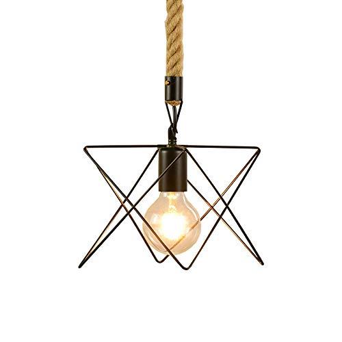 ZGZRXGY Cuerda de cáñamo Hierro Arte Colgante Colgante Iluminación Simple Star Shandelier Decoración para el hogar Luces Colgantes Dispositivo de iluminación de dormitorio E27 Lámpara de fuente de luz