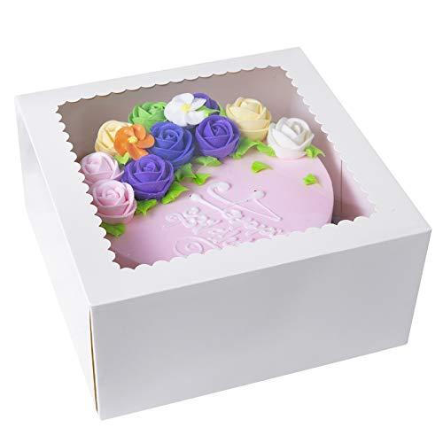 Cajas de papel kraft para tartas de 25,4 x 25,4 x 12,7 cm con ventana (color blanco, 15)