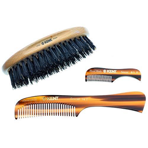 Kent Beard Kit for Men Grooming Kit | Mustache & Beard Care Kit for Men | Beard Brush Kit and Comb Set | Beard Kit for Men Gift | PF22 Brush | 14T Beard Comb | 81T Mustache Pocket Comb | Mens Gift Set