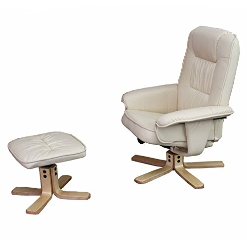 Mendler Relaxsessel Fernsehsessel Sessel mit Hocker M56 Kunstleder ~ Creme