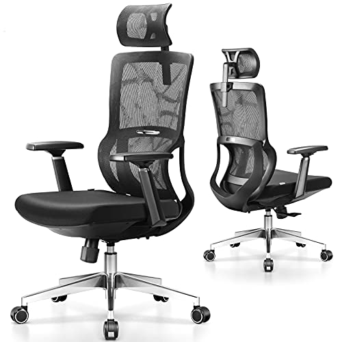 Ergonomic Office Chair, mfavour Office Chair Mesh, with 3D Armrest/Lumbar Support/Adjustable Headrest, Home Ergonomic Chair Thick Seat Cushion Seat for Study, Work and Gaming
