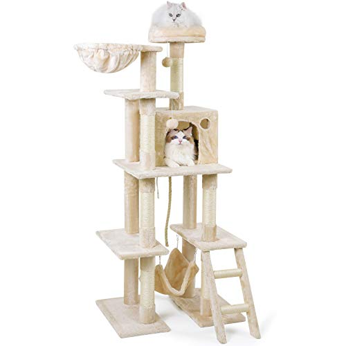 rabbitgoo Kratzbaum Katzenkratzbaum 155cm Groß Katzenbaum Stabil Kletterbaum Katzen Plüsch Sisal-Kratzstangen mit Plattformen Höhle Treppe Spielhaus Hängematte für Kätzchen Grosse Katzen Beige