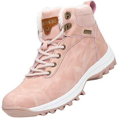 Mishansha Mujer Hombre Botas para Invierno con Forro de Piel Cálidas Zapatos para Caminar Senderismo y Trekking - Calentitas Cómodas Antideslizantes(Rosa, 39 EU)