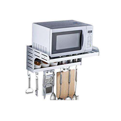WJGJ Micro-Ondes clayette étagère, Cuisine Four à Micro-Espace Mural étagère en Aluminium 2 Mounted-Couches avec Crochet étagères en métal Support Multifonctions Pylônes Salle de Bains