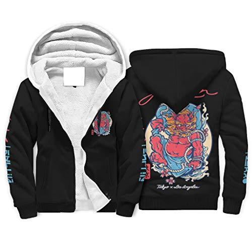 Shinelly Sudadera con capucha y cremallera completa para hombre, estilo japonés Oni Teufel Tokyo, con bolsillos, cómoda ropa deportiva blanco XXXXL