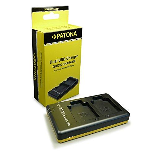 Patona - Cargador doble con cable micro-USB, para baterías Olympus OMD EM5Mark II, Stylus XZ-2,Pen E-P5 yE-M1