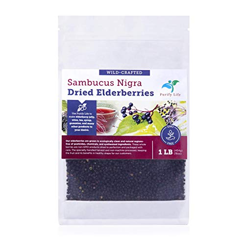 Dried Elderberries - 1lb Bulk - All Natural Free Of Chemicals, non-GMO, Whole European Grown Immune System Support Booster For Syrup, Gummies, Jelly, Tea, and Wine
