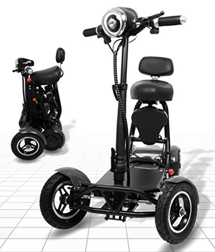 Foldable Mobility Scooter for Adults and Seniors, Lightweight & Long Range Four Wheel Mobility Scooters (Silver)