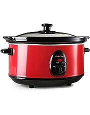 Klarstein Bristol 35 - slowcooker, slowcooker, braadpan, 3,5 liter, uitneembare binnenpan van keramiek, roestvrijstalen buitenpan, glazen deksel, 200 watt, 2 temperatuurniveaus, rood