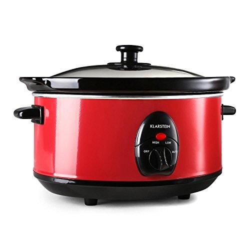 Klarstein Bristol 35 Pentola Slow Cooker Cucina A Cottura Lenta (3,5 Litri, 200 Watt, 2 livelli di temperatura) Rossa