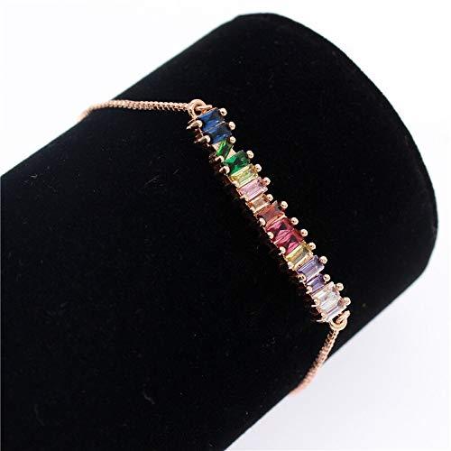 GYOL Poshfeel Colorido cúbico Zirconia Arco Iris Pulsera para Las Mujeres Pulseras de Oro y brazaletes de Cristal de la joyería del Encanto de Cristal MBR190052 (Metal Color : Rose Gold)