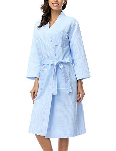 Belloo Damen Einfarbiger 100% Baumwolle Waffel Bademantel Kimono für Frauen, Gr. L, Farbe: Hell Blau