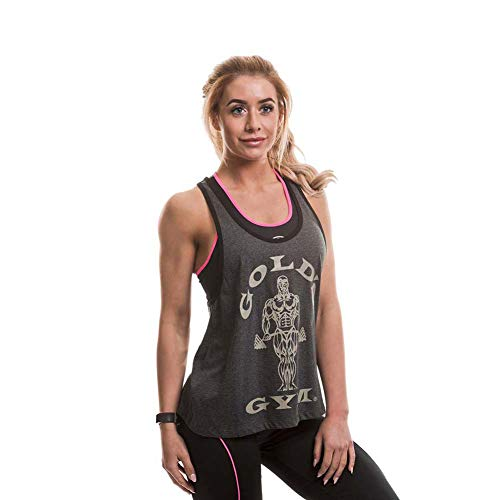 Gold\'s Gym Damen Muscle Joe Ladies Loose Fit Premium Stringer Vest Sporttop, Dunkelgrau, XS