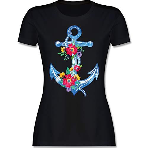 Kunst & Kreativität - Blauer Anker mit Blumen - M - Schwarz - l191_Shirt_Damen - L191 - Tailliertes Tshirt für Damen und Frauen T-Shirt