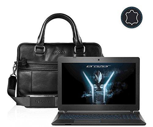 Leder Laptoptasche für Damen/Herren passend für Medion ERAZER P6681   Schwarz