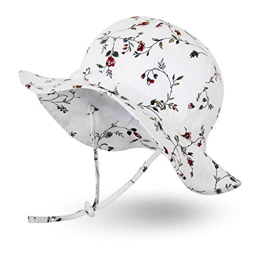 Ami&Li tots Niña Sombrero de Sol ala Ancha Ajustable Sombrero Protección Solar UPF 50 para Bebés, Niñas Niños Infantil Pequeñito Unisexo - S: Vintage Floral