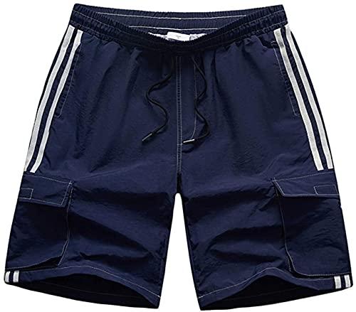 Haayee Pantalones cortos de secado rápido de costura a rayas para hombre