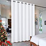 RYB HOME Room Dividers Curtains - High Ceiling Wall Divider Screens Privacy Partition Curtain for Living Room Bedroom Patio Sliding Door, Pure White, 1 Panel, 12.5ft Wide x 8ft Long