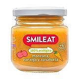 SMILEAT EAT & SMILE - Pack De 12 Tarritos Ecológicos - Manzana, Naranja Y Zanahoria - Paquete De 12 X 130 G, 1560 Gramo, 12 Unidades