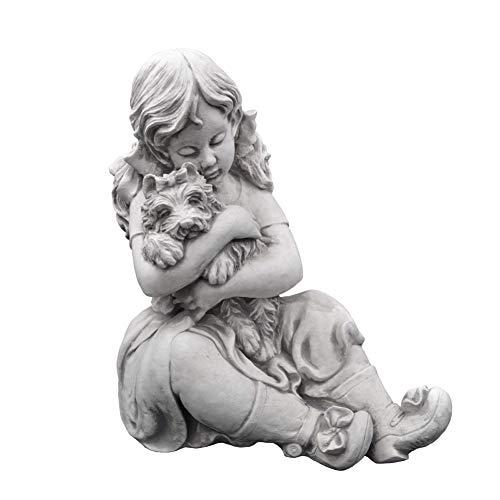 gartendekoparadies.de Massive Steinfigur Mädchen mit Hund Gartendeko aus Steinguss frostfest