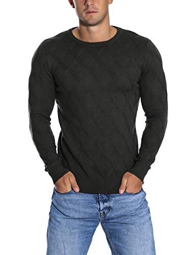 Rocorose Men's Sweater Crew Neck Ribbed Knitted Long Sleeves Pullover Deep Blue S