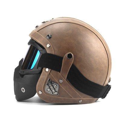 TiMi バイクヘルメット ジェットヘルメット BIKE HELMET ZO1 3/4ヘルメット 革 ハーレー ハーフヘルメット 5色可選 ブラウン (ゴーグル付き, XL)