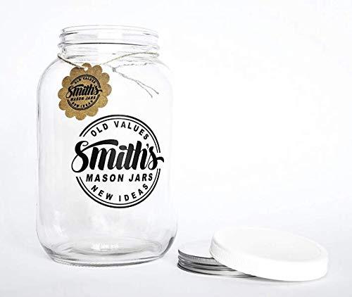 Weithals 1 Gallone (128 oz/3,7L) Glasbehälter mit Kunststoff- und Metalldeckeln – Kostenloser Streifen für Temperatur
