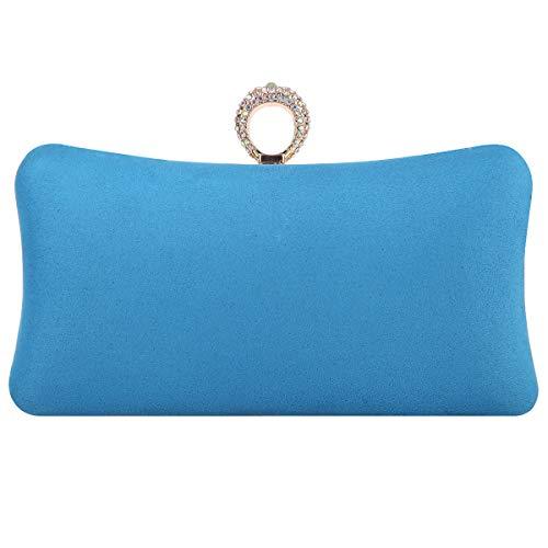 Fawziya Evening Purses And Clutches Crystal Velvet Knuckle Clutch-Sky Blue