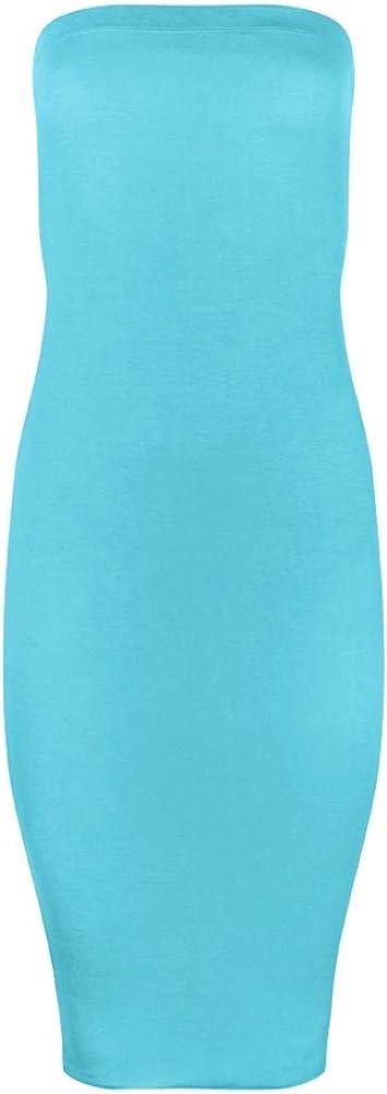 FASHION BOOMY Women's Bodycon Midi Tube Dress - Sexy Club Party Strapless Dresses - Regular and Plus Sizes