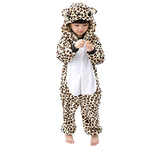 KRAZY TOYS Pijama Animal Entero Unisex para Niños como Ropa de Dormir-Traje de Disfraz para Festival de Carnaval (Leopardo, 10-12)