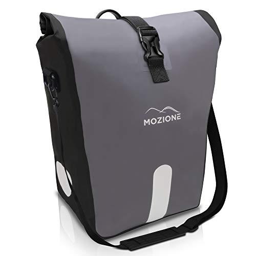 Mozione® Hinterradtasche - Universell passende Fahrradtasche mit bis zu 30l Stauraum - leichte Montage am Gepäckträger Dank mitgeliefertem Zubehör - wasserdichte Gepäckträgertasche mit Reflektoren