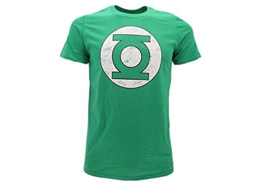 Green Lantern - Camiseta original de farol verde con logotipo vintage distressed...