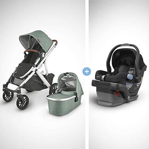 UPPAbaby Vista V2 Stroller - Emmett (Green Melange/Silver/Saddle Leather) + Mesa Infant Car Seat - Jake (Black)