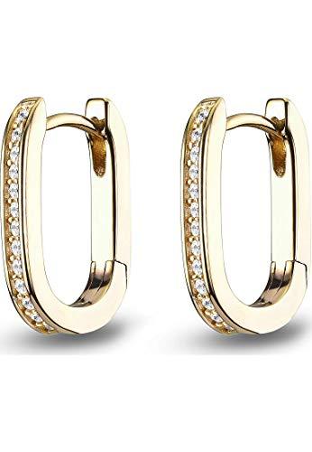 JETTE Damen-Creolen 925er Silber 28 Zirkonia One Size Gold 32015356