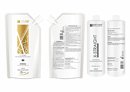 Beauty Garage X-Straight Hair Straightening Cream (480ml) + Neutralizer for Keratin Rebonding System (480ml)