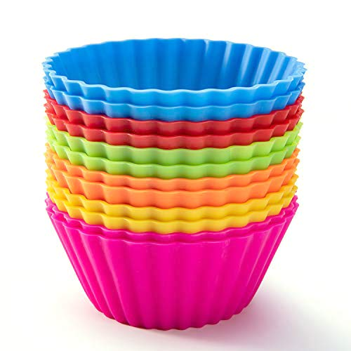 SAWNZC Silicone Baking Cups, Reusable Cupcake Liners Large 3.54 inch Muffin Cups NonStick Jumbo Cake Cups Set Stand Alone Cupcake Holder, 12Packs in 6 Rainbow Colors
