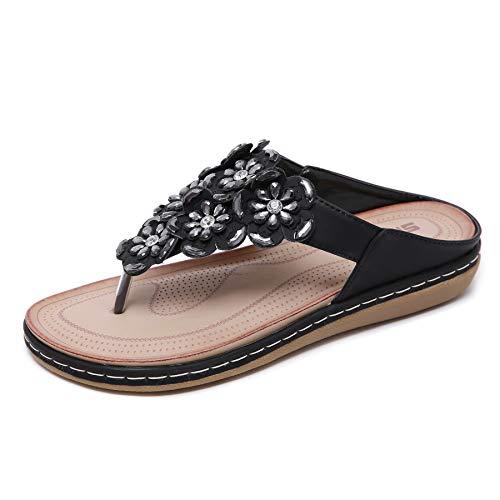 Sandalias Chanclas para Mujer para Interior y Al Aire Libre 2019,Playa Zapatos de Verano Antideslizante para Niña,Negro,EU39=CN40