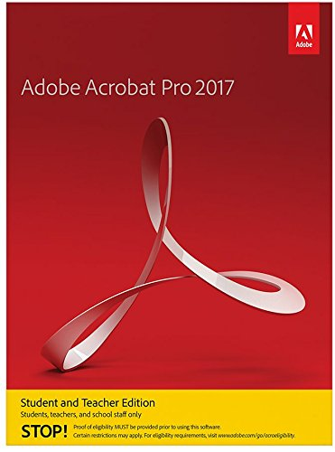 Adobe Acrobat Pro 2017 Student and Teacher Edition Windows [PC Disc] [Validation Required]