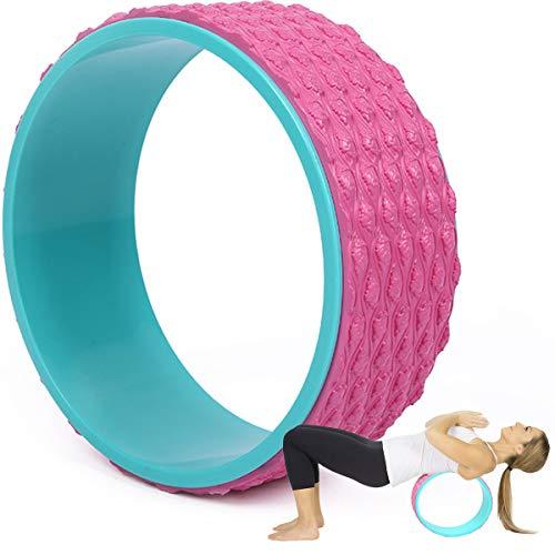 Rueda Yoga para Principiantes, Anillo Yoga, Rodillo Yoga Deportivo con Sudor Cómodo Antideslizante, para Estirar, Mejorar Flexibilidad, Flexiones hacia Atrás Posturas Yoga,Rosado