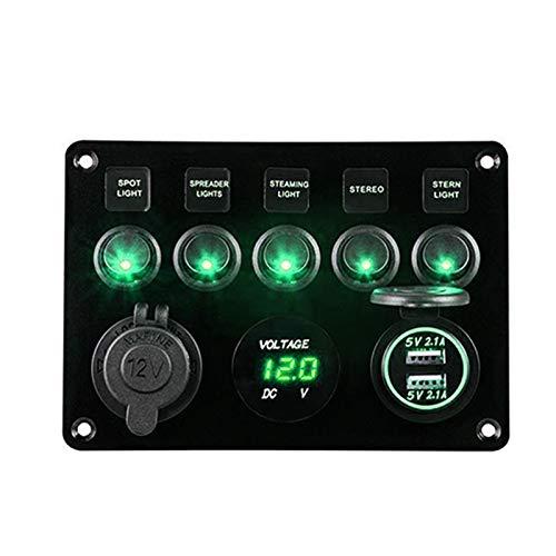 WZ02 - Panel de control de 6 bandas de carga USB, 12 V, 24 V, impermeable, interruptor de circuito para barco marítimo, voltio CH0412 (color verde)