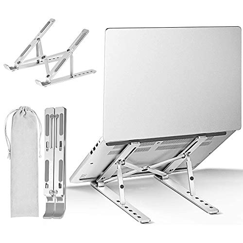 "ProChosen Laptop Stand, 6 Levels of Height Adjustable Laptop Stand Holder Foldable Portable Aluminum Alloy Tablet Stand Compatible with MacBook, ipad, Dell XPS, HP, Lenovo, Most 10-15.6"" Laptops"