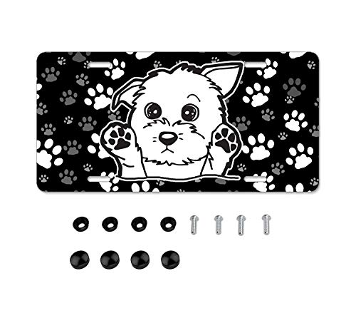 Paw Print Dog Cat Pattern License Plate Frame License Plate Covers Humor Car Tag Frame 2 Holes and Screws Black Personalized Car Accessories for Pet Lovers (Puppy)