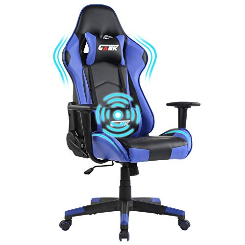 Ergonomic Gaming Chair Racing Office Computer Chair High Back PU Leather Swivel Chair with Adjustable Massage Lumbar Support and Headrest (Blue)
